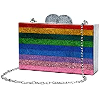 Rainbow Evening Handbag Acrylic Wedding Party Clutch Purse Crossbody Wallet Bag for Women