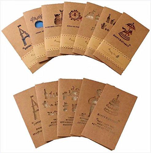卸の店 メッセージカード グリーティングカード ミニ バースデーカード 誕生日カード 封筒付 12枚セット
