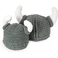 Ypser Cute Bull Horn Beanie Cap Handmade Knitted Crochet Viking Beanie