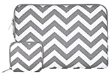 Mosiso ラップトップ スリーブケース シェブロン スタイル キャンバス地 バッグ カバー 13-13.3インチ ノートパソコン/MacBook Pro/MacBook Air用 収納ポッチ付き (ローズレッド)