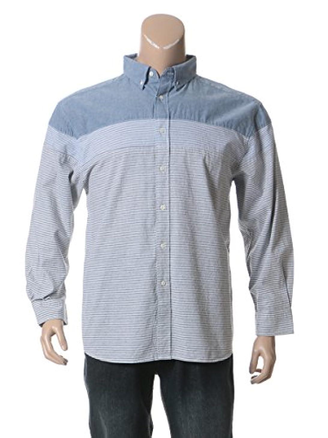 どのくらいの頻度でどのくらいの頻度で許す(ビーアンドティークラブ) B&T CLUB 大きいサイズ メンズ 消臭抗菌 綿100% 細ボーダー 切替 長袖 シャツ ブルー / X1