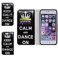 iPhone 7 Plus ケース,アイフォン 7 プラス ケース,Bcov 良質PUレザーケース 横開き 手帳型 二つ折り カード収納ポケット レザカバー Keep Calm Dance王冠