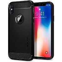 【Spigen】 スマホケース iPhone XS ケース/iPhone X ケース 5.8インチ TPU 米軍MIL規格取得 指紋防止 ラギッド・アーマー 057CS22125 (マット・ブラック)