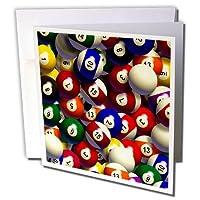 ビリヤード–ビリヤードボールプール–グリーティングカード Set of 12 Greeting Cards