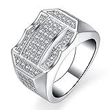 Trendsmax 13mm ブランドリング 真鍮 CZリング メッキリング メンズ リング 指輪 セッティングリング ジルコニアリング プラチナリング 婚約指輪 エンゲージリング カラー:シルバー 16号