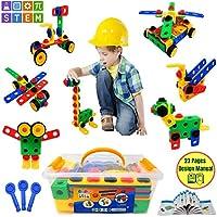 PlayShire Toys - オリジナル組み立ておもちゃ - 108ピース教育組み立て玩具 - 子供向けエンジニアリングブロックシステム - 3~6歳のお子様向け - スタートアップブックレット付き