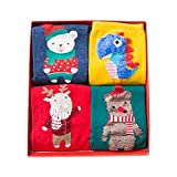 Hzjundasi 4組女性レディースクリスマスソックスコットンソックス面白いクリスマスギフトボックス