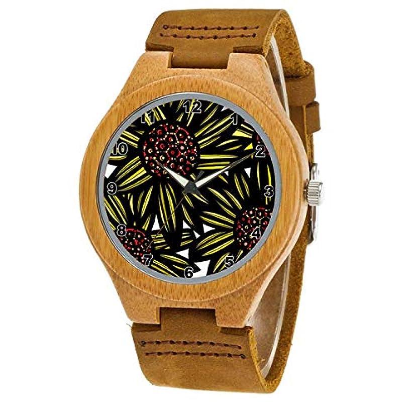 誇りダウンタウン真っ逆さま木製腕時計 ウッドウォッチ 竹の木 腕時計レディース時計 メンズ アナログ腕時計 235.静かで自然な情熱的なユーモラスな時計 本革バンド 天然木 クリスマスプレゼント 贈り物