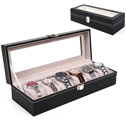 ブラック6スロットレザー腕時計ボックス木製オーガナイザー表示ケースジュエリーストレージホルダースタンドトップガラスホーム