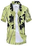 APTRO(アプトロ)メンズ シャツ アロハシャツ ワイシャツ 半袖 爽やか キレイめ系 フローラル プリント ハワイ風 通気速乾 襟付 ST22グリーン JP 2XL(タグ L)