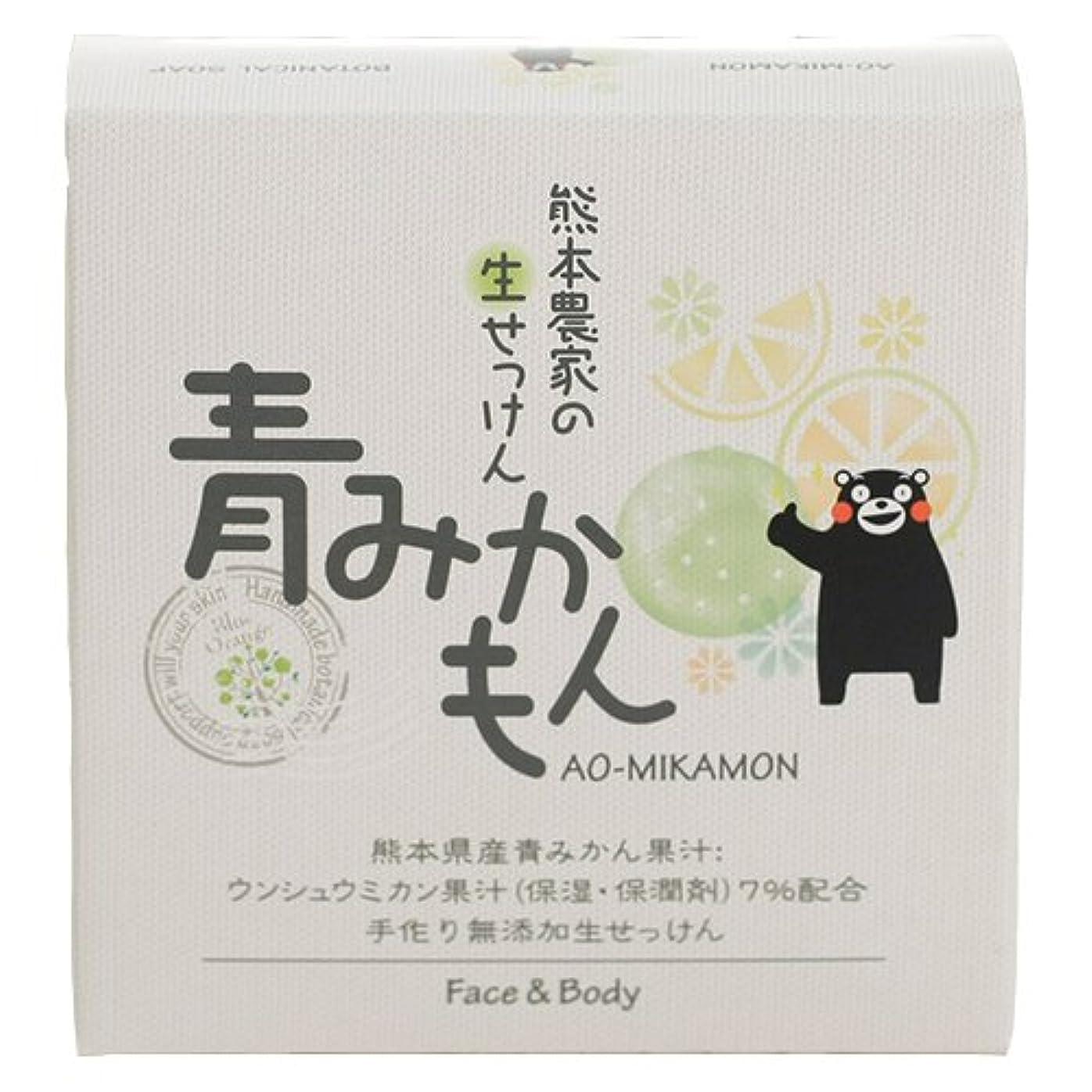 現実的リクルートヒップゼネラルリンク 熊本農家の生せっけん 青みかもん 80g 石鹸 柑橘系の自然な香り