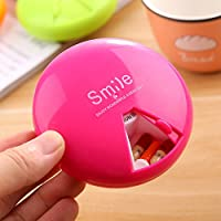 Round Weekly Pill Box Rotating Medicine Container Vitamin Case Holder for Daily (Rosy)