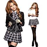 私立女子学生風 ブレザー 制服 コスプレ 衣装 4点セット 大人用コスチューム チェック柄 黒 レディース Mサイズ