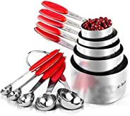 Measuring Cups : U-Taste 10 Piece Measuring Cups and Spoons Set in 18/8 Stainless Steel, Upgraded Thickness Ha