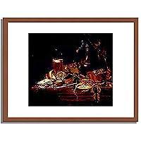 Hinz, Georg,ca. 1630-1688「Kuchenstilleben.」インテリア アート 絵画 プリント 額装作品 フレーム:木製(茶) サイズ:M (306mm X 397mm)