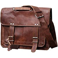 SC Large 18 Inch Genuine Goat Leather Briefcase Travel Bag Messenger Bag in Vintage Style Leather Satchel School Women Office College Bag Laptop Document Business Carry Bag Messenger Bag