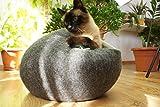 猫ベッド、猫ハウス 、ウールフェルト、ハンドメイド 。 ダークグレー色の。サイズ: L(大)。送料無料。Kivikis製