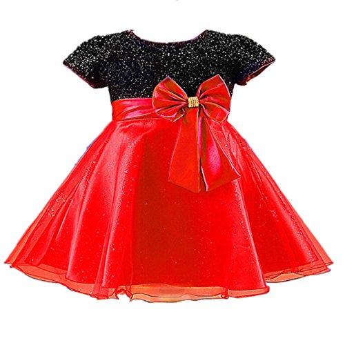 (ケイヨウ) JinYangガールズ 可愛い 腰に蝶結び付き 半袖 スパンコール お姫様 フォーマル ドレス レッド 3