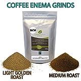 COFFEE ENEMA GRINDS - LIGHT GOLDEN ROAST/MEDIUM ROAST - 50/50 - GERSON - AIR ROASTED - ORGANIC - FAIRTRADE by James Health 1000 Plus (400 grams)