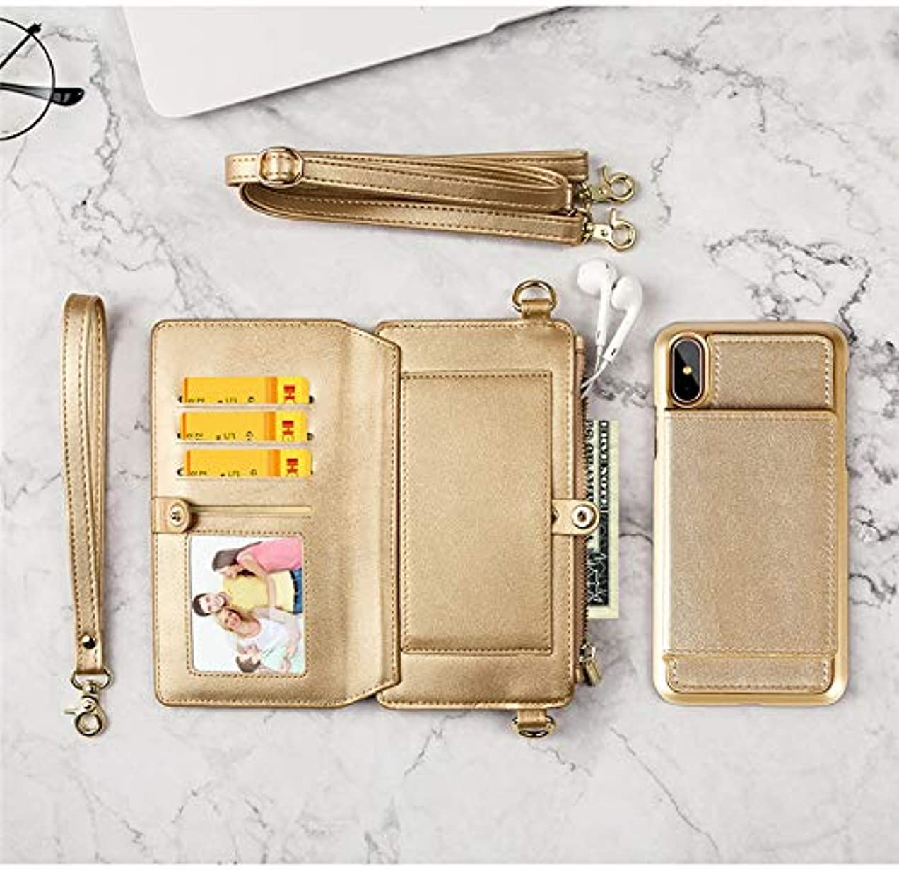 うめきスティーブンソンシャツiPhone XS Maxマックスケース財布、TABCaseプレミアムPUレザー12カードスロット、IDカード、コインポケット、取り外し可能な2つのショルダーストラップ付きジッパーリストバッグ付き多機能iPhoneショルダーストラップ...
