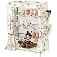 靴ラック4段棚炭素鋼製収納棚オックスフォード布オーガナイザー棚
