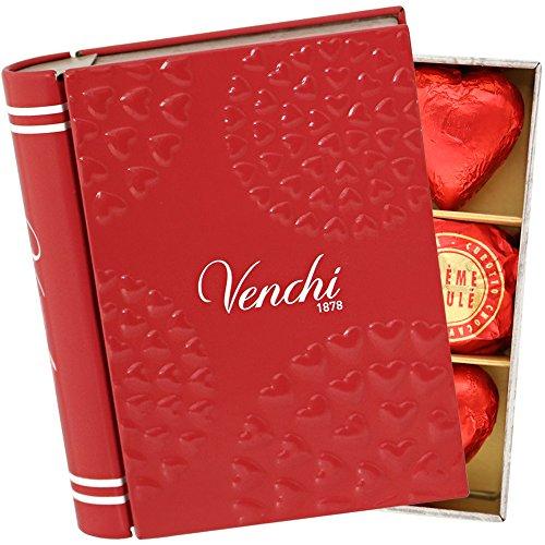 ヴェンチ Venchi バレンタインミニブック缶 サークルハート アソートチョコレート 10粒入り ブランド紙袋付き