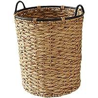 ラウンドポータブルランドリーバスケットレトロラタン汚れたハンパー服雑貨ストレージバスケット (サイズ さいず : 43 * 38 * 54cm)