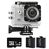 WIMIUS「 4K WIFI 2.0インチ液晶」防水 スポーツカメラ ウェアラブルカメラ 防犯カメラ ドライブレコーダー 多機能カメラ (シルバー)