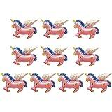 amleso 10ピース ミニ かわいい ユニコーンフラ ミンゴ馬ホイル 風船 トロピカル ベビーシャワーの装飾 2色 - ピンク, 40x35cm
