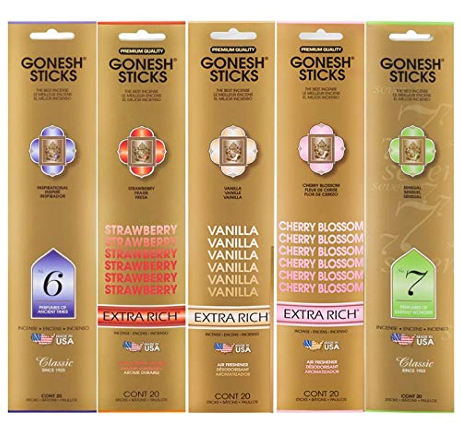 パノラマハイブリッド改革Gonesh Incense Sticksさまざまな値パック( 100 Sticks ) Ancient Times /バニラ/ Cherry Blossom / Earthly Wonders / Strawberry