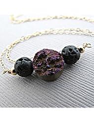 Purple Druzy Lava Pendant Essential Oil Necklace Diffuser Aromatherapy - Simple Minimalist Lava Bead Diffuser...