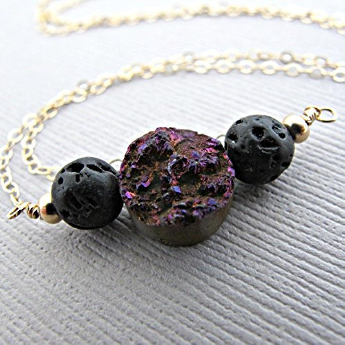 貫通する正しい真鍮Purple Druzy Lava Pendant Essential Oil Necklace Diffuser Aromatherapy - Simple Minimalist Lava Bead Diffuser...