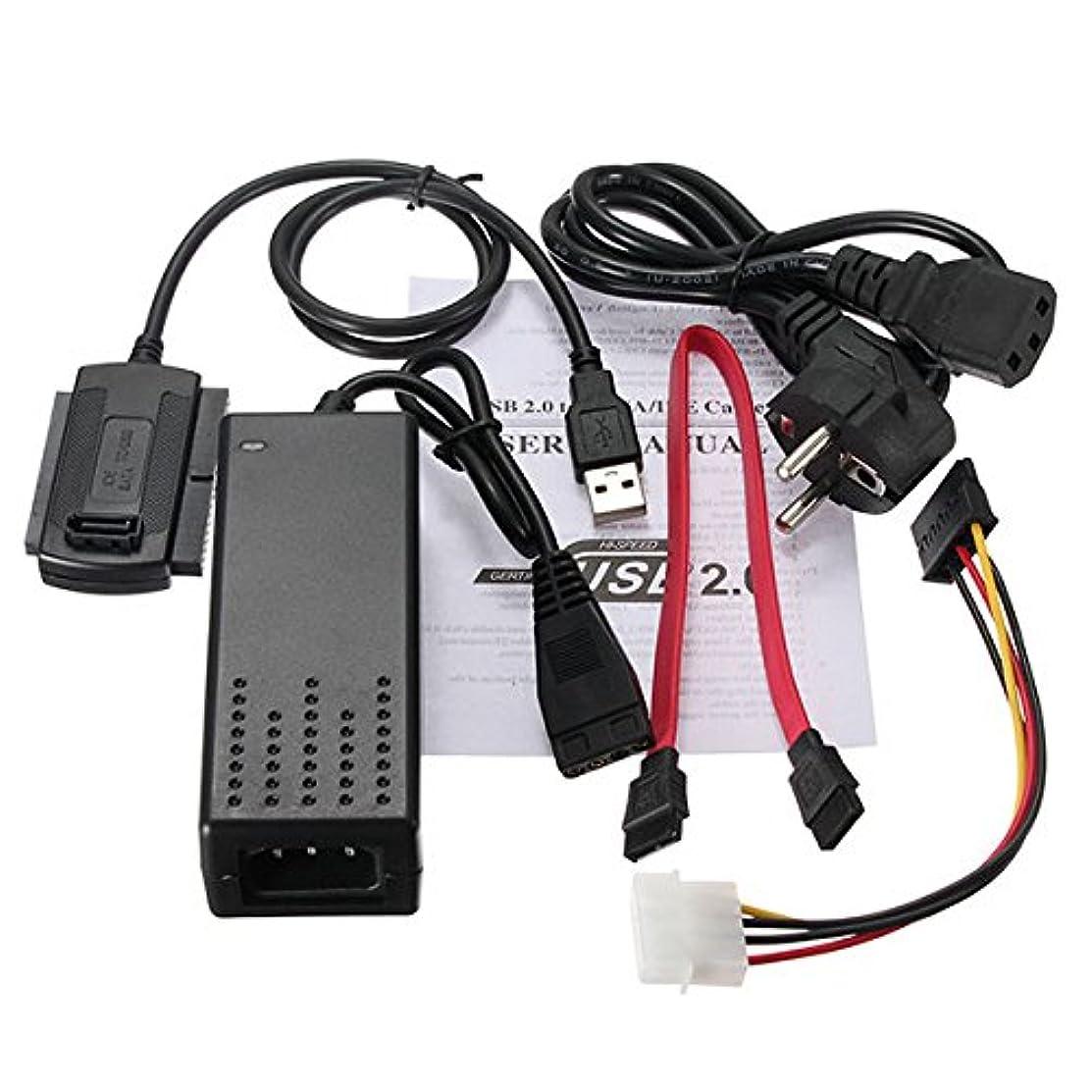 うつ熱心なバンドUSB 2.0 to SATA IDEハードドライブケーブルfor HD HDDアダプタW電源
