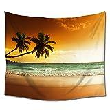 LEO BON JP インテリア 夕焼けと 砂浜と ヤシの木と 海 バナー タペストリー 壁掛け