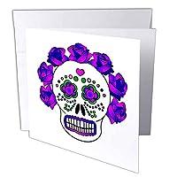3dRose gc_24638_1 6 x 6インチ「死んだ頭蓋骨の日De De Los Muertosパープル」グリーティングカード(6枚パック)