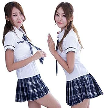 チェック柄 制服 セーラー服 コスプレ コスチューム 衣装 女子高生 JK エロカワ ミニスカ (紺色)