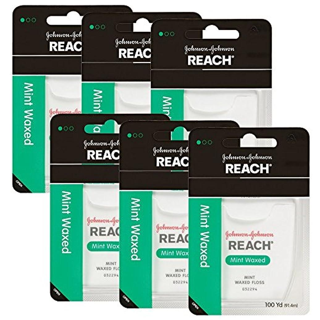 美人数媒染剤【まとめ買い】Johnson&Johnson REACH デンタルフロス9229 ミントワックス100ヤード×6個