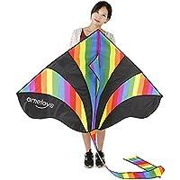 cottonlightカラフルHuge Rainbow Kite for Kids 1つのゲームのおもちゃアウトドア活動、