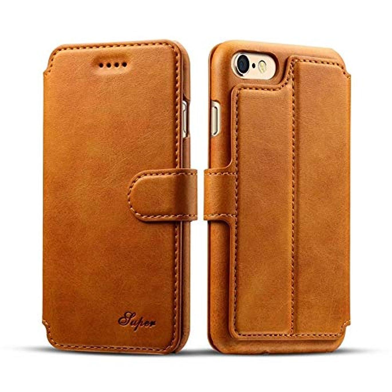 アルファベット順輝く箱Shaclobx 電話アクセサリー IPhone 6 Plusケース、iPhone 6s plusレザーケースカバー、プレミアム品質牛革レザーケース保護カバー付きiPhone 6 / 6s Plus用 (Color : Brown)