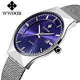 WWOOR 腕時計 メンズ おしゃれ 軽量 30M防水 オリエント アナログ 日付表示 超薄型 ビジネス クォーツ時計 シンプル クラシック ビジネス シルバー 運動 男性 ブルー [並行輸入品]