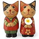 木彫り フラワー カップル 猫 ペア【ギフト プレゼント お祝い 記念品】結婚式やバレンタイン クリスマス 記念日の贈り物に プチギフトに