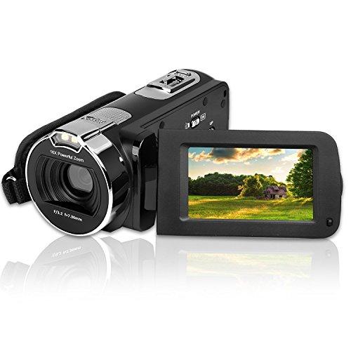 デジタルカメラ、CamKing HDV-312 24インチHD 1080P 16倍デジタルズームビデオカメラ、2.7インチLCD回転スクリーン270度