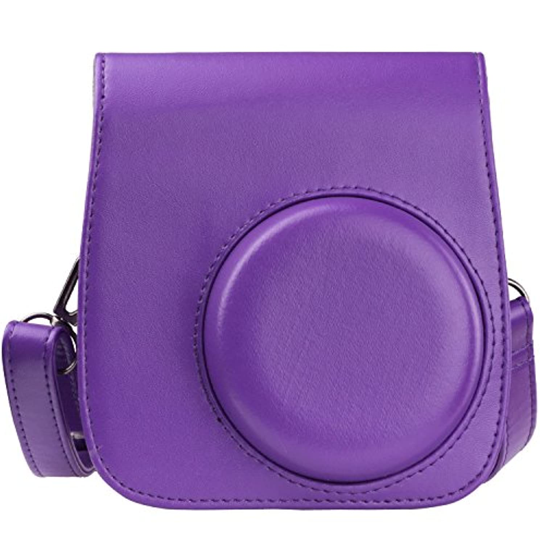 上質PUレザー FUJIFILM インスタントカメラケースInstax mini 8/8S専用レトロ可愛いケース (紫)