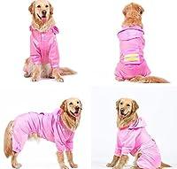 flower sea 犬のレインコート Dog 犬 ペット ドッグ服 アウトドアレインコート ドッグウェア ペットウェア (3XL, ピンク)