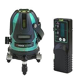 VOICE 5ライン グリーンレーザー墨出し器 VLG-5X メーカー1年保証 4方向大矩照射モデル【受光器セット】