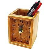 [モノジー] MONOZY 木製 時計 付き ペン立て アンティーク 卓上 ペンスタンド 便利 雑貨 卓上時計 おしゃれ オフィス 卓上収納 ボックス 多機能 事務用品