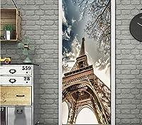 Jason Ming レトロなノスタルジックなパリタワー壁画壁の装飾的な3Dの壁紙リビングルームの寝室の浴室のドアのステッカー自己接着3D壁画-200X140Cm