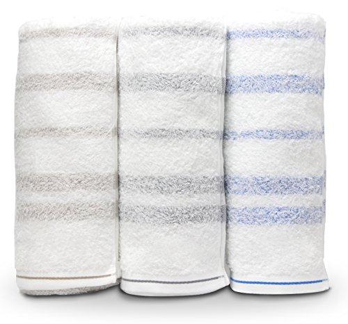 今治産タオル バスタオル 2枚組セット 驚きの柔らかさ 120×61cm 日本製 (2枚組 グレー×ブルー)