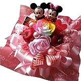 クリスマスプレゼント ディズニー 花束風 レインボーローズ プリザーブドフラワー入りギフト ラテ ミッキー ミニードナルド プーさん スティッチ バズ ウッディ リトルグリーンメン マイク サリーいずれかおまかせ2個入り ケース付き