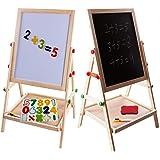 お絵かきボード 黒板 子供用 ホワイトボード イーゼル 子ども身長より黒板 イーゼルの長さが調節でき、場所により壁掛けや、A型スタンドの看板やクロッキー用など活用性高い両面書けるHema artマグネットボード